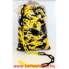 Lánc műanyag 6mm/50m sárga-fekete
